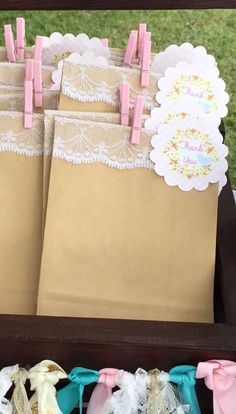 Paper bag favors at a bird baby shower party! See more party planning ideas at CatchMyParty.com!