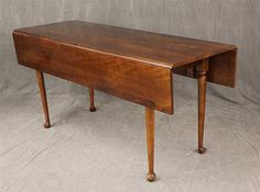 "Queen Anne Style Drop-leaf Harvest Table, Cherry, Cabriole Legs, 30""h X 42""w"