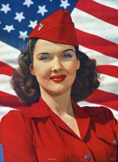 Vintage Victor Tchetchet World War II Salute to Victory Pin-Up Girl Print American Pride, American Flag, American History, Jasper Johns, 1950 Pinup, 1950s, Retro, Pop Art, Estilo Pin Up