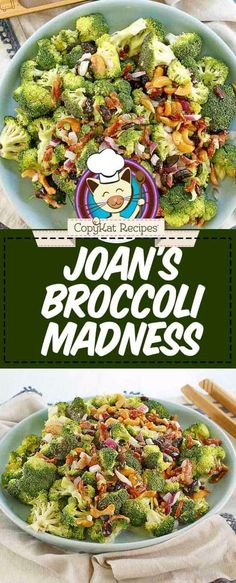 Anytime is a good time for an easy broccoli salad especially this Sweet Tomatoes Joan's Broccoli Madness Salad with bacon. This copycat recipe takes 15 minutes and minimal cooking is involved! Low carb and vegetarian options too. Easy Broccoli Salad, Fresh Broccoli, Broccoli Recipes, Salad Recipes, Healthy Recipes, Copykat Recipes, Salad Bar, Quinoa Salad, Pasta Salad