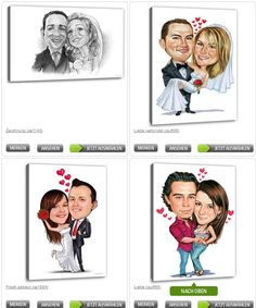 Tolles Geschenk zur Hochzeit. Sie laden ein Foto hoch und bestimmen das Motiv. Das Ergebnis ist eine wunderschöne Karikatur vom Brautpaar.