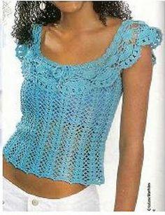 Blue Top free crochet graph pattern.
