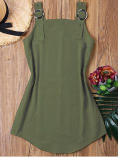 No Spring and Summer Solid Sleeveless Square Mini Sheath Casual and Vacation Brief Ring Strap Mini Dress Fashion Models, Girl Fashion, Fashion Dresses, Fashion Design, Cute Casual Dresses, Mini Vestidos, Summer Outfits, Army Green, Vacation