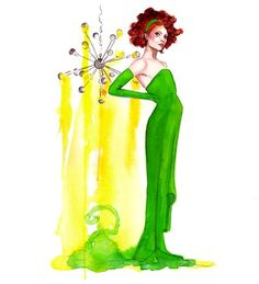 Green gown by Tracy Hetzel Long Blue Straw Green Gown, Watercolor Illustration, Short Hair Cuts, Redheads, Snow White, Gowns, Disney Princess, Ballet Fashion, Artist