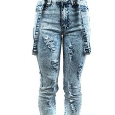 Exocet Womens Denim Jogger with Suspenders 9 Light Acid ($15) ❤ liked on Polyvore featuring pants, jeans, bottoms, calças and denim