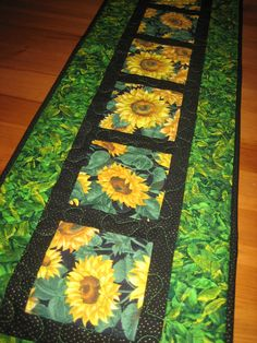 Quilted Table Runner Yellow Sunflowers Green Leaves Handmade Table Decor Summer by TahoeQuilts on Etsy