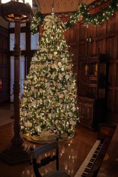 Beautiful Christmas Tree inside the Music Room of the Biltmore House in Asheville, 2014