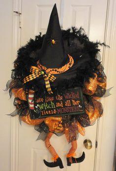 Crazy Legs C Witch Halloween Deco Mesh Wreath by RamonaReindeer, $65.00