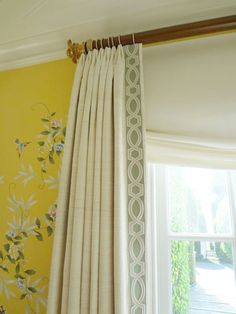 Drapes with Samuel & Sons Ogee Embroidered Trim in Wedgewood