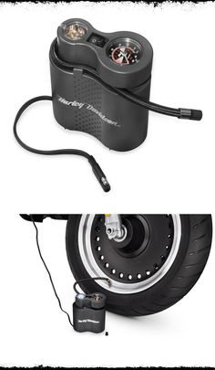 Correct tire pressure is crucial to the safe operation and long tire life, but checking the pressure, finding a gas station with a working air pump, and filling the tire is a chore that many of us ignore.   Harley-Davidson Compact Air Compressor with Light #FathersDay