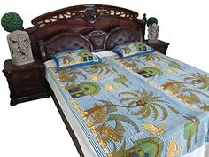 #bedding #bedcover #bedspreads #bedthrow #homedecor #ethnic Bed Cover Sets, Bed Covers, Dorm Room Bedding, Indian Bedding, Bohemian Bedspread, Nature Prints, Bed Throws, Cotton Bedding, Bed Spreads