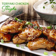 Sweet and sticky, these Asian-inspired Teriyaki Chicken Thighs are finger-licking good! Chicken Thighs, Chicken Wings, Teriyaki Sauce Ingredients, Fresh Coriander, Teriyaki Chicken, Evening Meals, Serving Platters, Kitchen Recipes, Finger