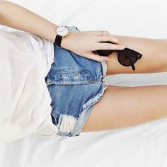 classic tee + jean shorts #style #fashion