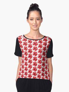 """Scarlet #Hibiscus #Tropical #Flower "" #Chiffon #Tops by #taiche   #Redbubble https://www.redbubble.com/people/taiche/works/25959913-scarlet-hibiscus-tropical-flower?asc=u&p=chiffon-top&rel=carousel"