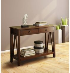 Traditional Sofa Table Drawer Aged Cherry Rectangular Top Compact Antique Finish #Linon #TraditionalTransitional #Table #Drawer #Furniture #Home