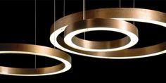 Light Ring Horizontal Suspension I Henge I Casa Design Group Copper Pendant Lights, Contemporary Pendant Lights, Glass Pendant Light, Pendant Light Fixtures, Pendant Lamp, Pendant Lighting, Architectural Lighting Design, Modern Lighting Design, Interior Lighting