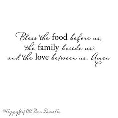 Dining Room Quote!  Vinyl wall decal  Bless the food before us by OldBarnRescueCompany, $44.00
