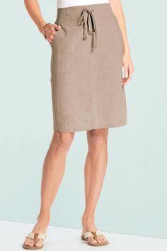 Drawstring Linen Skirt: Classic Women's Clothing from #ChadwicksofBoston $19.99