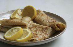 Vegan pancakes with lemon and sugar