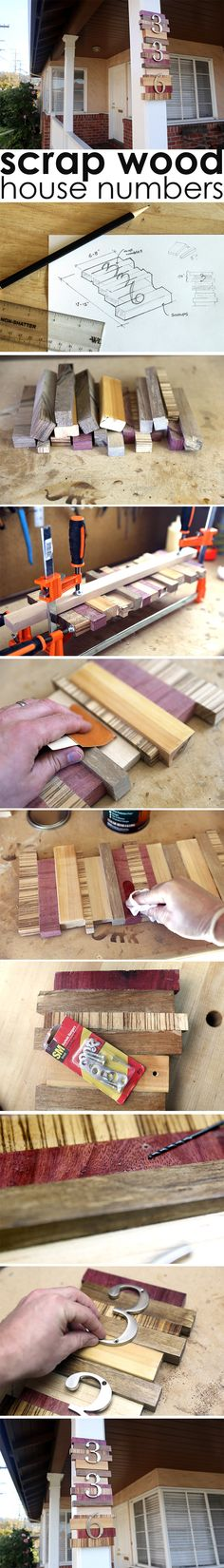 Make your house stand out on the block with easy to make house numbers made with scrap wood. Woodworking Classes, Woodworking Projects, Diy Wood Projects, Home Projects, Yard Privacy, Modern French Country, Diy Workbench, Design Jardin, Hearth And Home