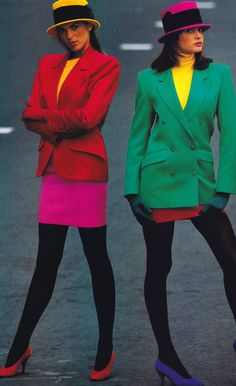 1980's. Power women with the skirt suit and large ...