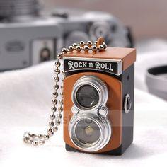 Mini Camera Flash Keychain Unique Charm Pendant Decor Stylish Key Chain coffee (: