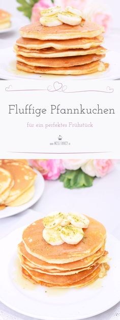 Fluffy pancakes for a perfect breakfast - Sabina von Küche - Pfannkuchen Crepes And Waffles, Pancakes Easy, Fluffy Pancakes, Pancake Muffins, German Breakfast, Best Pancake Recipe, Good Food, Yummy Food, Perfect Breakfast