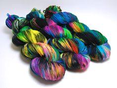 Handpainted Superwash Merino Sock Yarn - Aint It Fun! - Turquoise Pink Green Black - 400 Yards