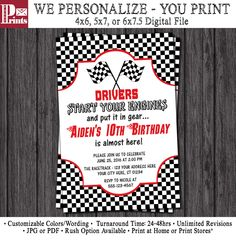 Race Car Birthday Invitation - Racing Birthday Party Invitations - Racetrack by PuggyPrints on Etsy