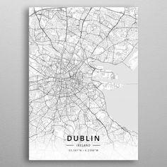 Dublin Ireland by Designer Map Art Ireland Map, Dublin Ireland, Dublin Map, Scotland Map, Wall Art Prints, Canvas Prints, Map Art, Print Artist, Cool Artwork