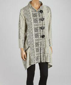 White & Black Abstract Sidetail Jacket - Women by Cupcake International #zulily #zulilyfinds