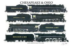 4 hand drawn Chesapeake & Ohio drawings by Andy Fletcher