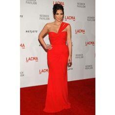 Kim Kardashian Red Chiffon One Shoulder Prom Gown Formal Evening Dress Lacma Red Carpet Dresses