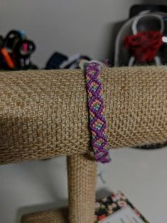purple, peach, green and white Diamond pattern friendship bracelet by JolieTreasure on Etsy