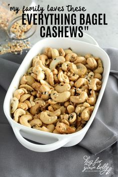 Buttery rich, with a savory crunch, these everything bagel cashews are perfect for snacking! #everythingbagel #everythingbagelcashewsrecipe #seasonedcashews #roastedcashews Other Recipes, Sweet Recipes, Snack Recipes, Easy Snacks, Healthy Snacks, Recipe Tonight, Roasted Cashews, Everything Bagel, Appetizers For Party