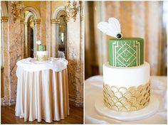 Sara Elizabeth Cakes & Sweets: Great Gatsby Cake & Wedding Shoot: Plus a Fondant Sugar Brooch Tutorial. Green, Gold, and White Wedding Cake, as featured on LeMagnifiqueblog.com www.facebook.com/saraelizabethcakesandsweets