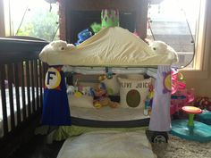 The new castle we made today. (Repurposed pack-n-play)