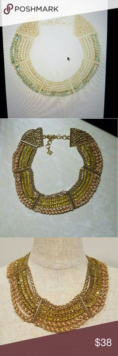 "BCBG MAXAZRIA CHAIN &CORD STATEMENT NECKLACE. AUTHENTIC BCBG, SOCIALITE  COLLECTION .  THICK GOLD CHAIN NECKLACE ,MULTI-SIZE CHAINS WITH HARDWARE CAPPED ENDS WOVEN CORD DETAILING. ADJUSTABLE LENGHT WITH LOBSTER-CLASP FASTENING. Measurement: 16"" Brand new, never used, no tag BCBG MAXAZRIA  Jewelry Necklaces"