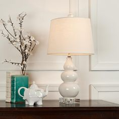 Triple Gourd Mini Lamp on Clear Crystal Base 5 colors