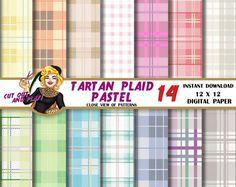Pastell Tartan Plaid digitalem Papier Tartan von CutOutAndPlay