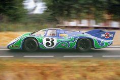 """The psychedelic ""Hippie"" Martini Porsche 917 LH at 1970 Le Mans 24 hours."" : Gérard Larrousse / Willy Kauhsen - Porsche 917L - Martini International Racing Team - XXXVIII Grand Prix d´Endurance les 24 Heures du Mans - 1970 International Championship for Makes, round 8 - Challenge Mondial, round 4"