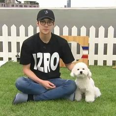 Sehun with his dog vivi during the v app EXOmentary