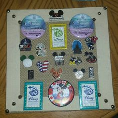Disney Honeymoon Pins:  covered a canvas with burlap to match our bedroom colors.