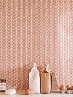 Recycled glass Confiserie series tile comes in two mosaic shapes (chevron and triangle) in four matte colors (including the Blush shown here). It arrives as an square installed on webbed backing and is suitable for use anywhere in the house; Mosaic Bathroom, Glass Mosaic Tiles, Mosaic Wall, Mosaic Mirrors, Wall And Floor Tiles, Wall Tiles, Home Deco, Wet Room Flooring, Kitchen Splashback Tiles