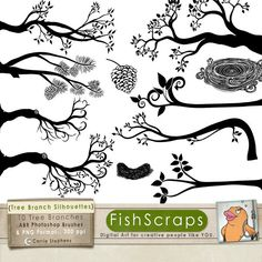 Silhouette Tree Branch -  PNG Clip Art - Bird Nest  - Pine Cones, ABR Photoshop Brushes, Digital Stamps. $5.95, via Etsy.