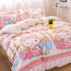 Hellokitty And Flowers Bed sheet,Quiltcover,Pillowcover Dorm Bedding, Grey Bedding, Linen Bedding, Bed Linens, Sanrio Hello Kitty, Bed Duvet Covers, Duvet Cover Sets, Bedding And Curtain Sets, Bedding Sets