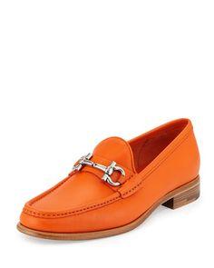 Mason Leather Gancini Loafer, Orange by Salvatore Ferragamo at Neiman Marcus.