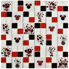 Disney Minnie Red 11-3/4 in. x 11-3/4 in. x 5 mm Glass Mosaic Tile, Red/High Sheen
