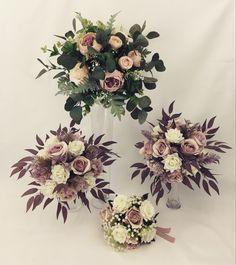 Rose Wedding Bouquet, Cream Roses, Dusty Pink, Floral Wreath, Wreaths, Bridal, Decor, Decorating, Dusty Rose