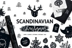 Illustrations and Illustration Products: tatiletters - Scandinavian Christmas Black & white